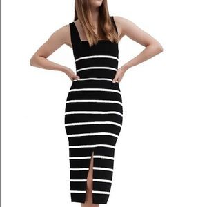 WITCHERY Black Stripe Knit MIDI Dress